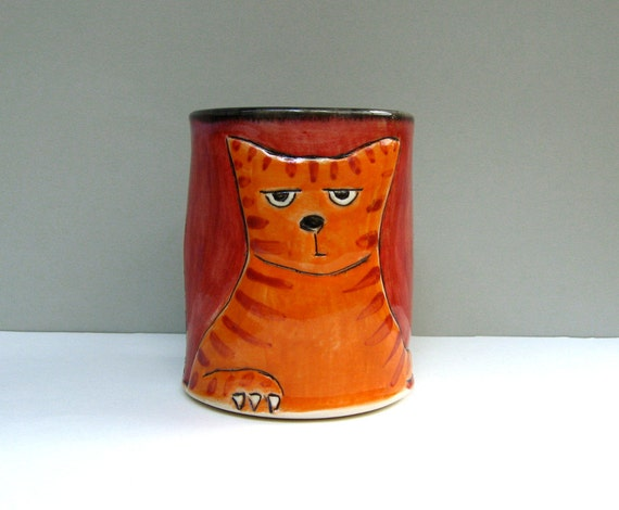 Cat Mug, Large,  Red And Orange, With Grouchy Kitty, Coffee Cup