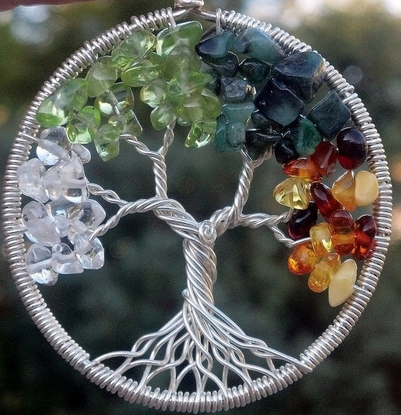 Ready To Ship - Four Seasons Tree of Life Pendant - Recycled Sterling Silver, Quartz, Peridot, Emerald, Amber - Original Design by Ethora