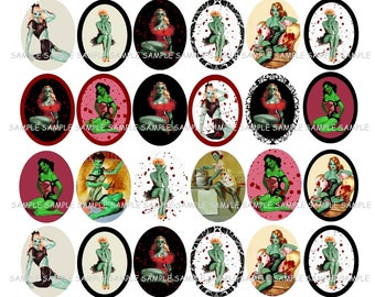 INSTANT DOWNLOAD...Vintage Zombie Pinup Girls... 18x25mm Oval Images Collage Sheet for Pendants ...Buy 3 get 1