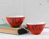 Mr. and Mrs. Hand Painted Vintage Red CUPS Wedding Bride Groom Christmas Breakfast