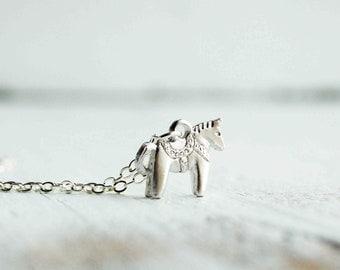 Tiny Dala HORSE Charm Necklace Swedish HORSE Tiny Toy Silver