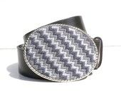 CLEARANCE Bargello Needlepoint Shades of Gray Belt Buckle
