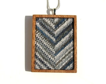 NEW Needlepoint Smokey Skinny Striped Chevron Mahogany Based Necklace Pendant