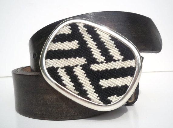 Needlepoint Black n White Mod Design Belt Buckle