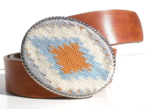 CLEARANCE Needlepoint Subdued Tribal Belt Buckle