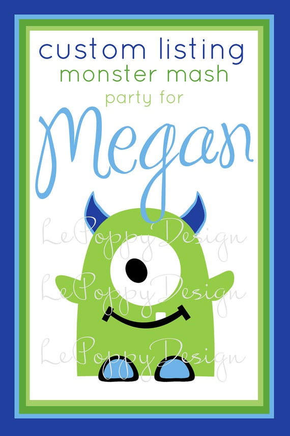 Reserved For Megan-  Monster Mash - Custom Party Package