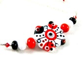 Statement Necklace, Red White Black Necklace, Lampwork Necklace, Glass Necklace, Beadwork Necklace, Modern Necklace, Funky Necklace - Enigma