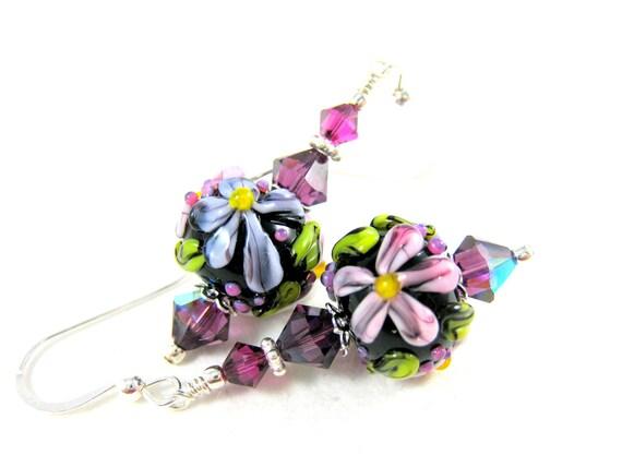 Floral Earrings, Purple Earrings, Purple Pink Lampwork Earrings, Flower Earrings, Beadwork Earrings, Dangle Earrings - Pretty Purple Daisies
