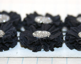6 Small Black Crepe Paper Flowers w/Genuine German Silver Glass Glitter Centers