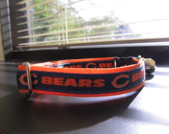 Chicago Bears Cat or Small Dog Collar with Option in Orange or Pink Backing