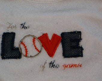 "Embroidered Baby Bib ""For the Love of the Game"""