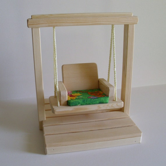 Wooden Doll Swing Set Doll House Accessories Natural Wood