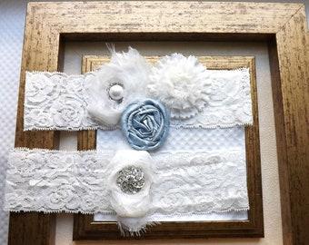 Wedding Garter /Ivory Bridal Garter with Blue  Rosettes/ Lace garters / Toss Garter / Something Blue Wedding Garter
