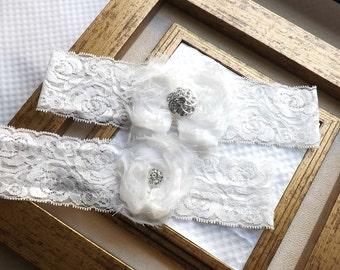 Bridal Garter - Ivory Lace Garter - Wedding Garter Set - Vintage Lace Garter Set - Ivory Garter Set