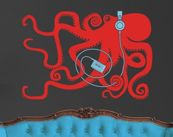 vinyl wall decal art- octopus with headphones, walkman, tentacles sticker art, FREE SHIPPING