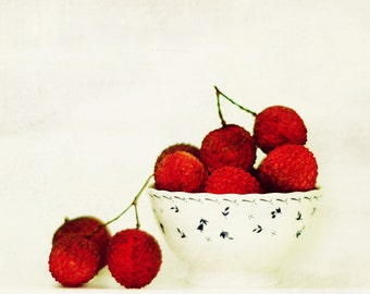 Lychees - Summer Fruit Lychee, Litchi, Laichi, Lichu, Exotic fruit, Dining room, Sweet juicy fruit, Spring, summer Fine Art Print 8x8
