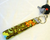 Wristlet Key Fob Amy Butler Fabric Gothic Rose Belle Key Chain Key Ring Fabric Keyring Orange Brown Green Blue MTO