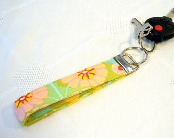 CLEARANCE SALE Wristlet Key Fob Kaffe Fassett Fabric Keyring Keychain Floral Sprays Bright Turquoise Hot Pink Handmade