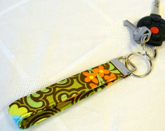 Wristlet Key Fob Amy Butler Fabric Gothic Rose Belle Key Chain Key Ring Fabric Keyring Orange Brown Green Blue MTO
