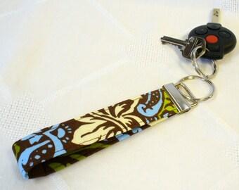 Fabric Wristlet Key Fob Keyring Keychain Damask Brown Olive Green Blue Lime Fabric Key Fob