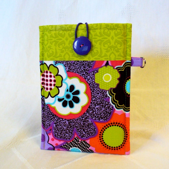 KINDLE FIRE Sleeve Ereader Case Kindle Keyboard Cover Padded Sleeve Ready to Ship Mod Floral Purple Lime Orange Pink