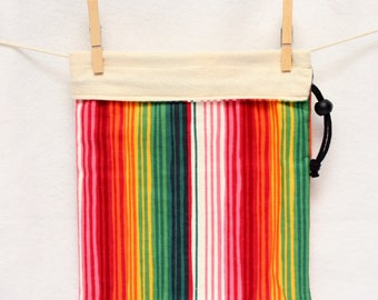 Project Bag, Fiesta Stripes, Cream, Reversible, Large