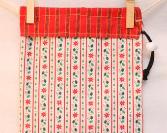 Christmas Gift Bag, Holiday Project Bag, Poinsettia Stripes, Holly Stripes,Small
