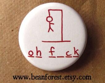 h ngman (hangman) - pinback button badge