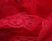 See Shop Announcement for % Off Coupon Codes - Lace Trim - Red - 1 inch (Scalloped) - YOU PICK QUANTITY - 2 yards thru 6 yards