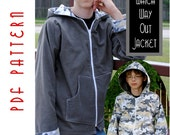 PDF Sewing Pattern:  The Which Way Out Jacket Big Kid Sizes (Instant Download)