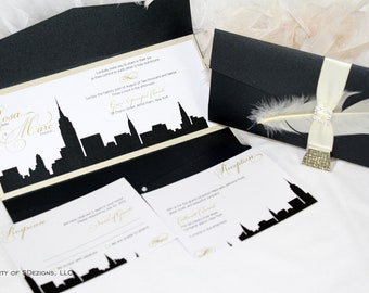 New York Skyline Wedding Invitation / City / Empire State Building / Feather / Sparkle / Brooch / Buckle / Modern / Elegant Wedding Invite