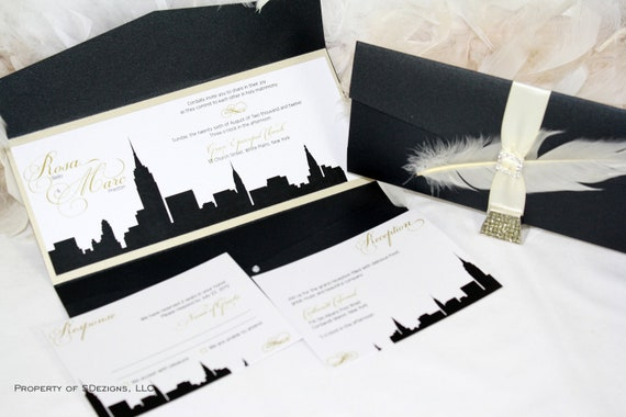 new york skyline wedding invitation city empire state etsy wedding invitations