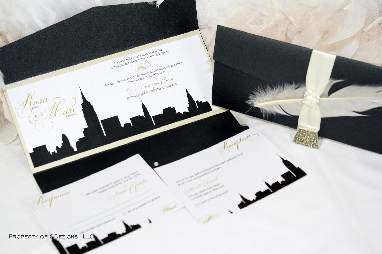 New York Skyline Wedding Invitation City Empire State