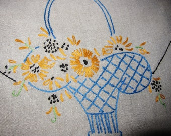 Long table runner, 1920s,  heavy  linen, Embroidered baskets. Farmhouse style. Cottage chic, rustic linen