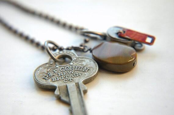 Zipper Charm, Jasper, Vintage Key Unisex Necklace - Silver, Army Green & Red