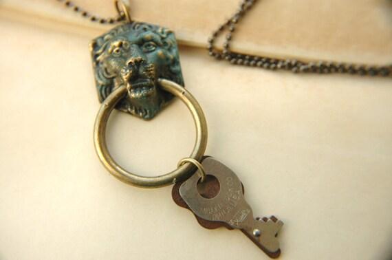 Men's - Unisex Necklace with Vintage Keys and Verdigris Lion Pendant - The Footman.