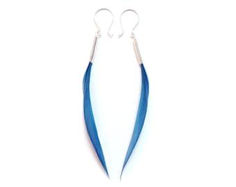 Short Elegant Thin Spike Minimalist Real Feather Earrings in Olympian/Cornflower Blue on Silver Hooks