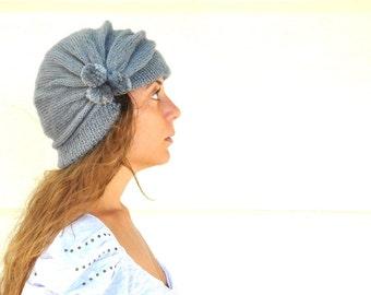 Hat Beanie Hat Adult Hat Pom Pom Hat Hand Knitted Grey Gray Cozy Warm Women Accessories