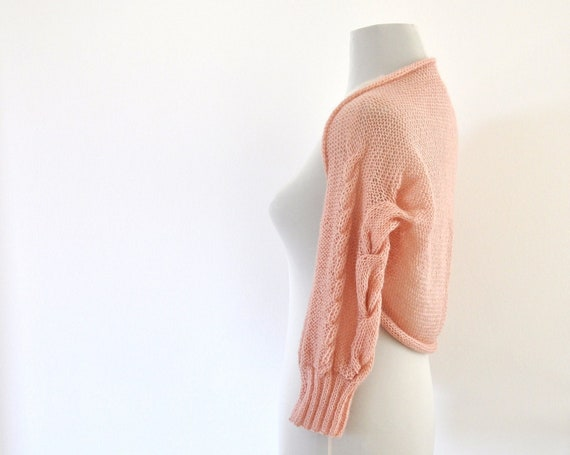 Bridal Shrug Bolero Wedding Jacket Rose Pink Blush Hand Knit 3/4 Sleeve Chic Delicate Romantic
