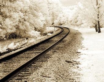 Railroad Tracks Nature Print, Surreal Railroad Tracks Infrared Photography, Surreal Sepia Nature Print, Railroad Sepia Rustic Vintage Nature