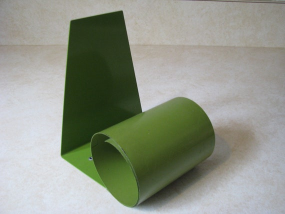 Vintage Mod Coil Expanding Book End Green