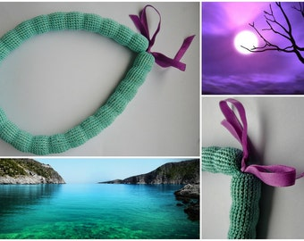 Emerald green ocean  - crocheted necklace with purple ribbon