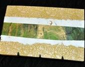 Coptic Bound Journal Gold Green & White 5x7