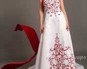 Satin Strapless Red & Ivory With Train Wedding Gown - WA235
