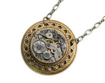 Steampunk Antique Watch Movement Brass Necklace