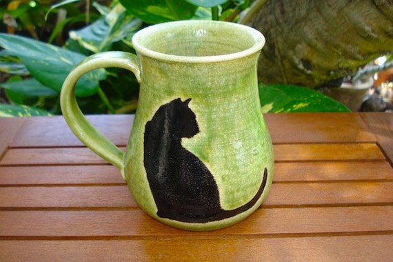 Beautiful Handmade Green Stoneware Mug with CAT Silhouettes