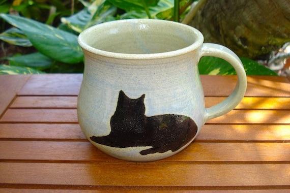 Pretty Handmade Light Blue Stoneware Mug with CAT Silhouettes