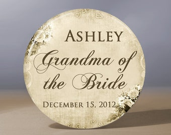 Pocket Mirror - Grandma of the Bride Elegant Vintage Look 3.5 inch Pocket Mirror with Gift Bag - Weddings - Grandma of the Bride Gift