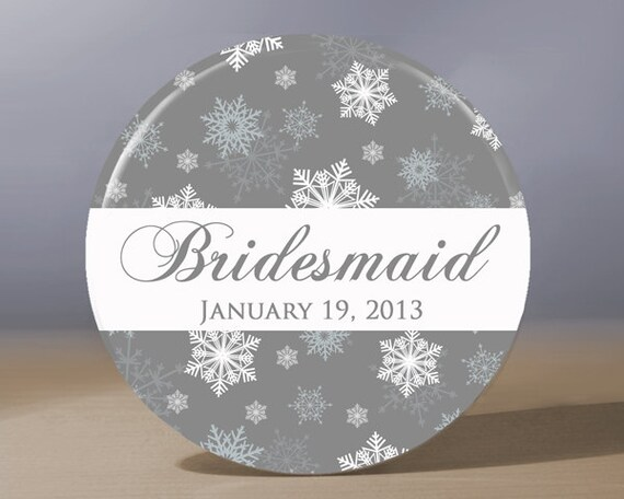 Personalized Pocket Mirror - Snowflake Bridesmaid 3.5 inch Pocket Mirror with Gift Bag - Weddings, Winter Wedding, Bridesmaid Gift