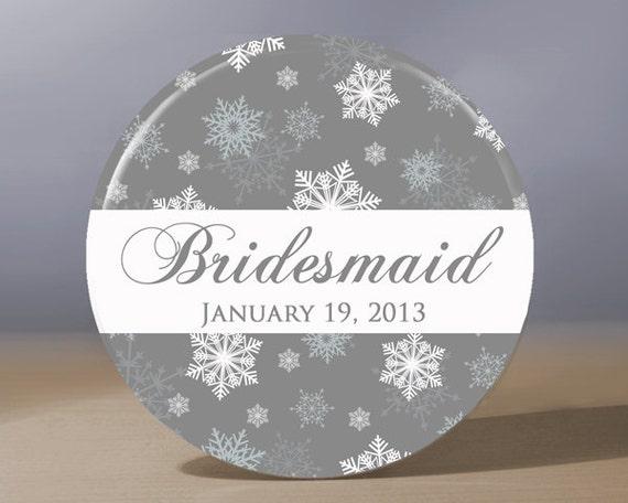 Personalized Pocket Mirror - Snowflake Bridesmaid 3.5 inch Pocket Mirror with Gift Bag - Weddings, Winter Wedding, Bridesmaid Gift